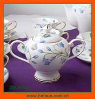 Bone china sugar container with flower pattern 2SC4-102