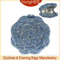 Blue rose flower metal Hollow Crystal evening Bags IF-HC192