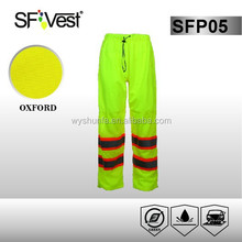 2015 hot sale pvc raincoat fabric pants with 100% polyester tricot and mesh ANSI /ISEA 107-2010 certificate