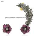 Ruby gema floral casamento estilo ear cuff, 18k ouro pave diamond wedding ear cuff, diamante de prata manguito orelha jóia