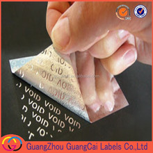 China supplier VOID security adhesive label,VOID tamper evident sticker, VOID residual message when opened