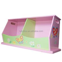Las nuevas muchachas de madera pintada a mano de flores de color rosa doble plataforma de apilamiento caja de almacenamiento de juguete banco de muebles de los niños