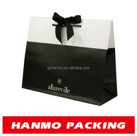 factory custom paper ribbon tie gift bags white and black color