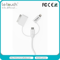3 in 1 for Apple and Andriod devices multi-purpose PVC usb data cable