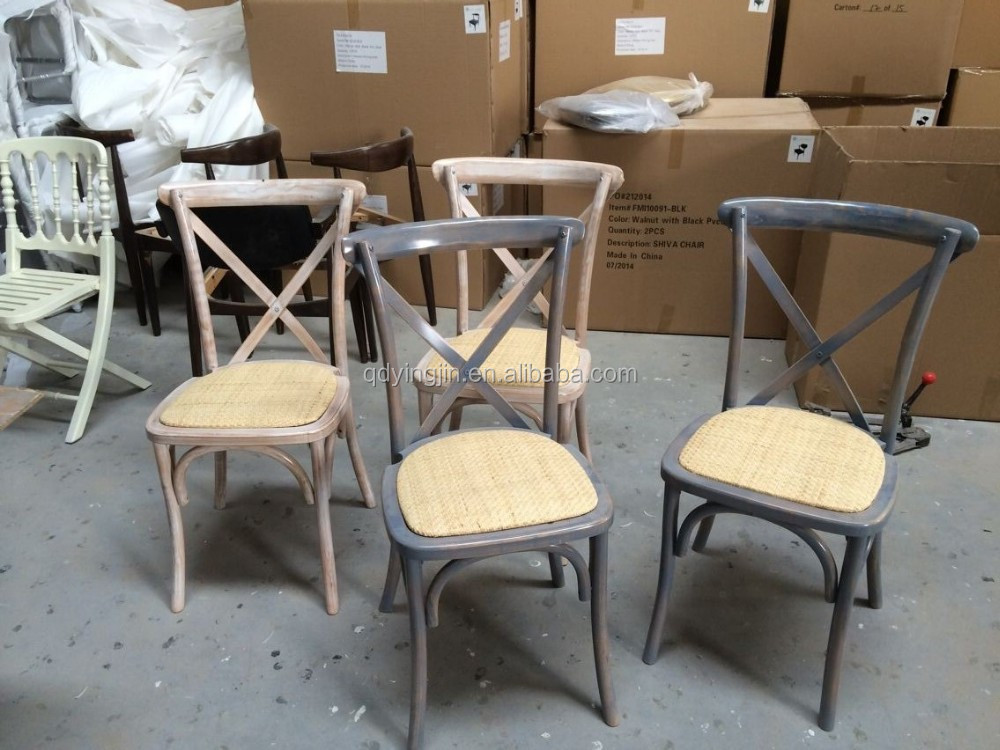 French Bistro Style Chair Wooden Rattan Seat Cross Back