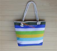 STOCKS multicolor strips beach canvas bag blue striped nautical large tote/beach bag with rope handles bolsa de galon saco