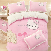 GIRLS CUTE PINK RABBIT APPLIQUE EMBROIDERY BED SHEET IN VELVET FABRIC