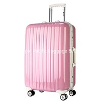 Cute Pink Color PC Hard Shell Luggage for Travel , Girls Customized Suitcase
