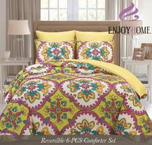 Gardenia Pattern Reversible 6 PCS Comforter Set