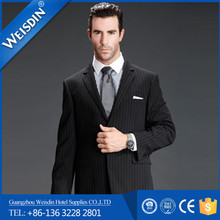 Tuxedo suits made in China anti-shrink black stripe men slim fit wedding suits