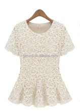 European Style Women Short Sleeve Fitted Flared Hem White Shirt