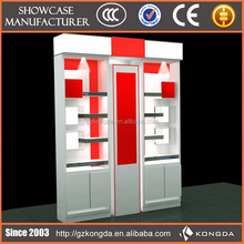 High quality auto part wall mounted display unit for shop with led light and drawer