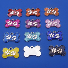 PERSONALISED 28MM BONE GLITTER METAL PET DOG CAT TAG WITH YELLOW PINK BLACK BLUE RED COLOR