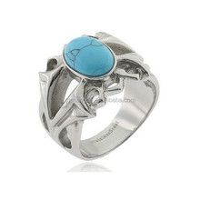 Stainless Steel Turquoise Cabochon Simulated Men's Fashion Ring