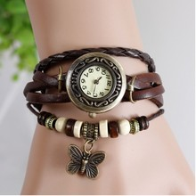 7 Colors Available Original High Quality Women Genuine Leather Vintage Watch,Bracelet Wristwatches 2014 new