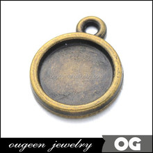 Antique Bronze 10mm Cabochon Setting Blank Bezel Pendant Base for Photo Glas Tiles or Cabochons