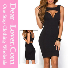 Cut Out Sexy Wholesale 2015 Black MidiParty bare back cocktail dresses