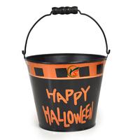 Black Mini round galvanized metal happy halloween bucket