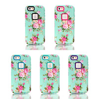 3IN1 Hybird Hard PC+Soft TPU Noble Peony Design Back Skin Cover Cases For iPhone 6 4.7inch