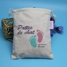 Wholesale low price customized logo printed organic cotton drawstring bag cotton canvas bag for handbag