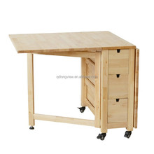 the 2015 european design Solid Wood Dining folding Table with wheel,classical wood desk,easy moving and storage folding table