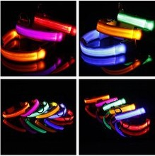 For Pets Nylon Night Safety Light-up Flashing Glow Strip 6 color LED Collars of Pets