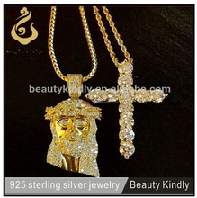 2015 fashion stainless steel jewelry jesus and cross necklace set sterling silver religious cross new gold chain design for men