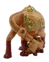 Camel Statue Wooden Hand Painted Camel Sculpture With One Baby Camel