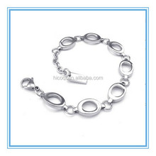 2015 Trendy Crazy selling wholesale Women's Stainless Steel Bracelet, Classic Links, Silver