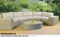 Multi-seat rattan half moon sofa