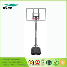 Gray 10' portable basketball stand with gray glass board