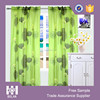 Rod pocket Linen look printing sheer window Curtains