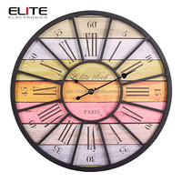 2015 new product metal frame mdf antique wall clock