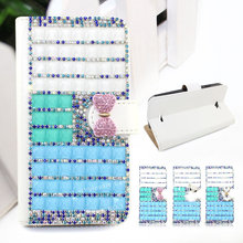 Luxury wallet style diamond crystal bling bling leather case for SONY ERICSSON M4 AQUA