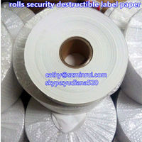 anti-counterfeiting feature and custom sticker usage security fragile label paper,matte/glossy tampered destructible label paper