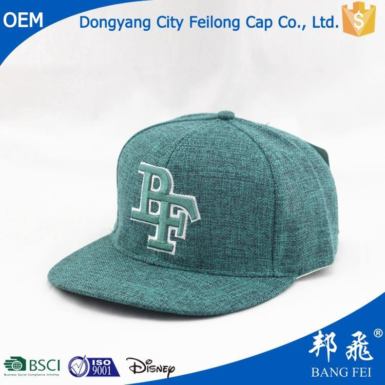 plastic baseball cap with applique embroidery flat
