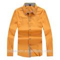 Amarillo slim fit camisa casual de los diseños para los hombres, doble cuello de la camisa de algodón