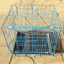 "13.7"" Blue Collapsible Metal Wire Dog Crate Cage Tray Pet Puppy Kennel PKENN3526"