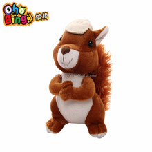 2016 Best Sale Factory Direct Hot Wholesale soft cute squirrel with hat stuffed plush toy,custom plush toy