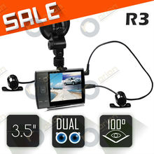 Car Recorder dashcam 3.5inch H.264(MOV) dual camera DVR-R3