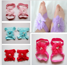 JPL168Wholesale mix color flower Baby Children Flower Pearl Infant Toddler Girl Headband with shoes Set hair accessories 2015