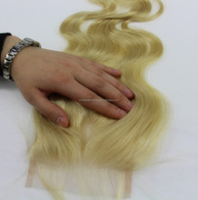 Virgin Brazilian hair body wave 613 blonde cheap lace front closure
