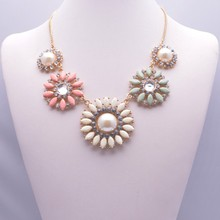 Fashionable Sweet Easy Flowers Pearl Short Necklace