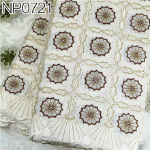 Cheap lace fabric Cotton tinsel fabric Embroidery cotton lace curtain fabric NP0721