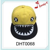 Fashion hot sale adjustable shark sport hat flat brim shark kids snapback baseball cap,shark teeth cap
