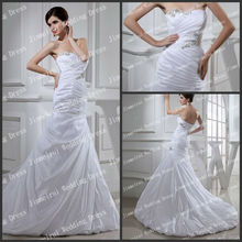 Flowing Strapless A-line Long Train Beads Pleats Satin Real Sample Wedding Dresses Pictures