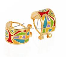 hot selling huggie charm gold plating fine enamel cuff earrings jewelry