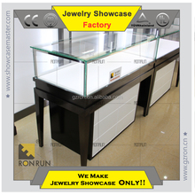 Elegant jewelry display counter glass showcase with lockable and tempered glass