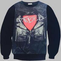 MSS251 Wholesale 3d printing sublimation crewneck sweatshirt custom leather sleeve sweatshirt