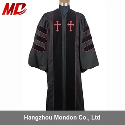 Customized Wholesale Black/Red Clergy Robes With Cross Sign